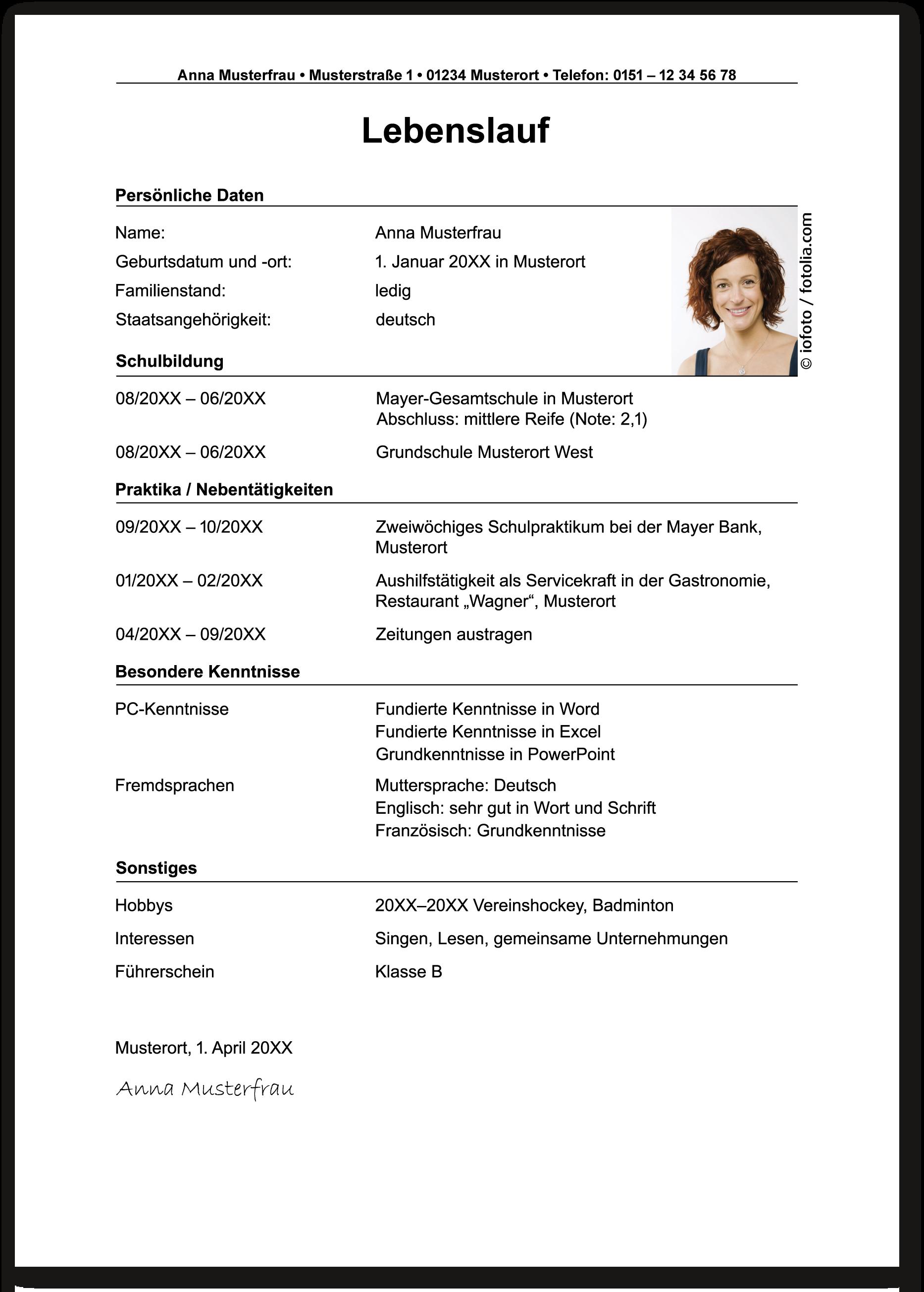 Die Bewerbung bei der Polizei: Der Lebenslauf - Die Ausbildung bei ...
